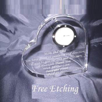 Crystal Heart Clock