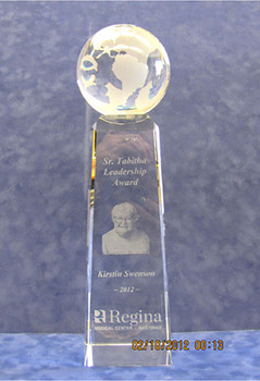Discovery Award Etched with photograph and text.