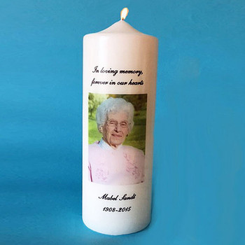Memorial Candle with Photo and Personalized with Name & Years
