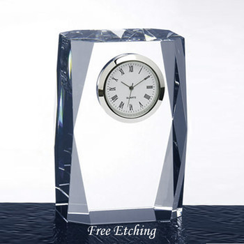Beveled Column Crystal Desk Clock