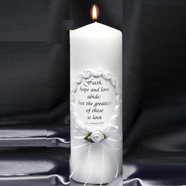 Oval Frame Unity Candle with Verse