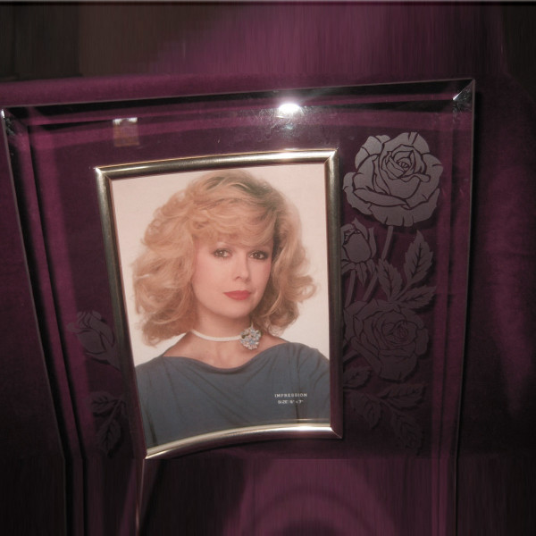 Curved Glass with Etched Rose