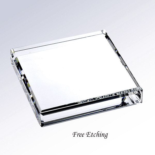 Beveled Square Crystal Paperweight