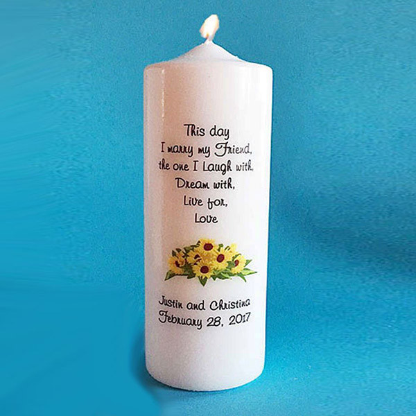 personalized candles sunflower unity candles wedding candles