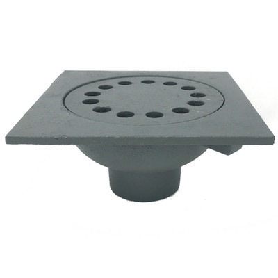 """Bell Trap Drain, 9""""x9"""" Square Top, 6 3/4"""" Drain Grate, 3"""" No-Hub connection"""