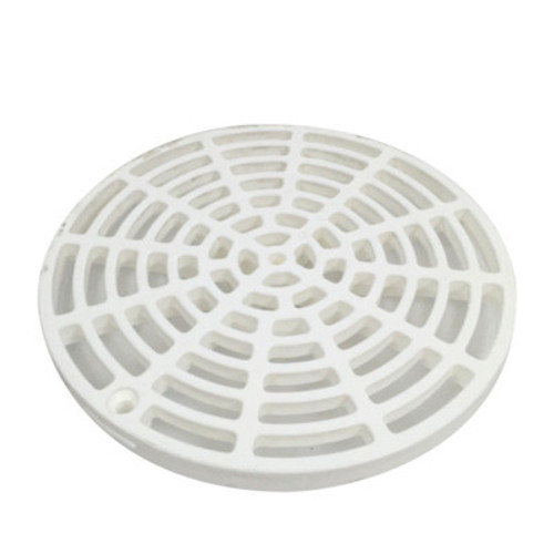 "White Plastic Floor Drain Cover - 6-1/8"" with Tabs"