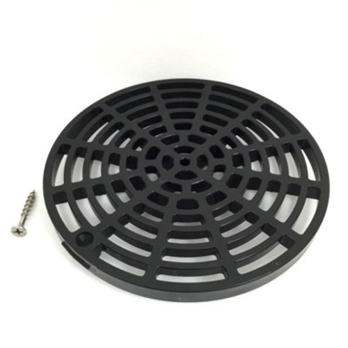 """Black Plastic Floor Drain Cover - 6-1/8"""" with Tabs"""