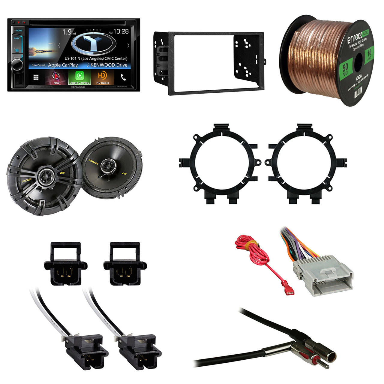 Kenwood Dnx573s 2 Din Bluetooth Navigation System 62 Touchscreen Metra Wiring Harness And Installation Tools Dvd With Kicker 40cs654