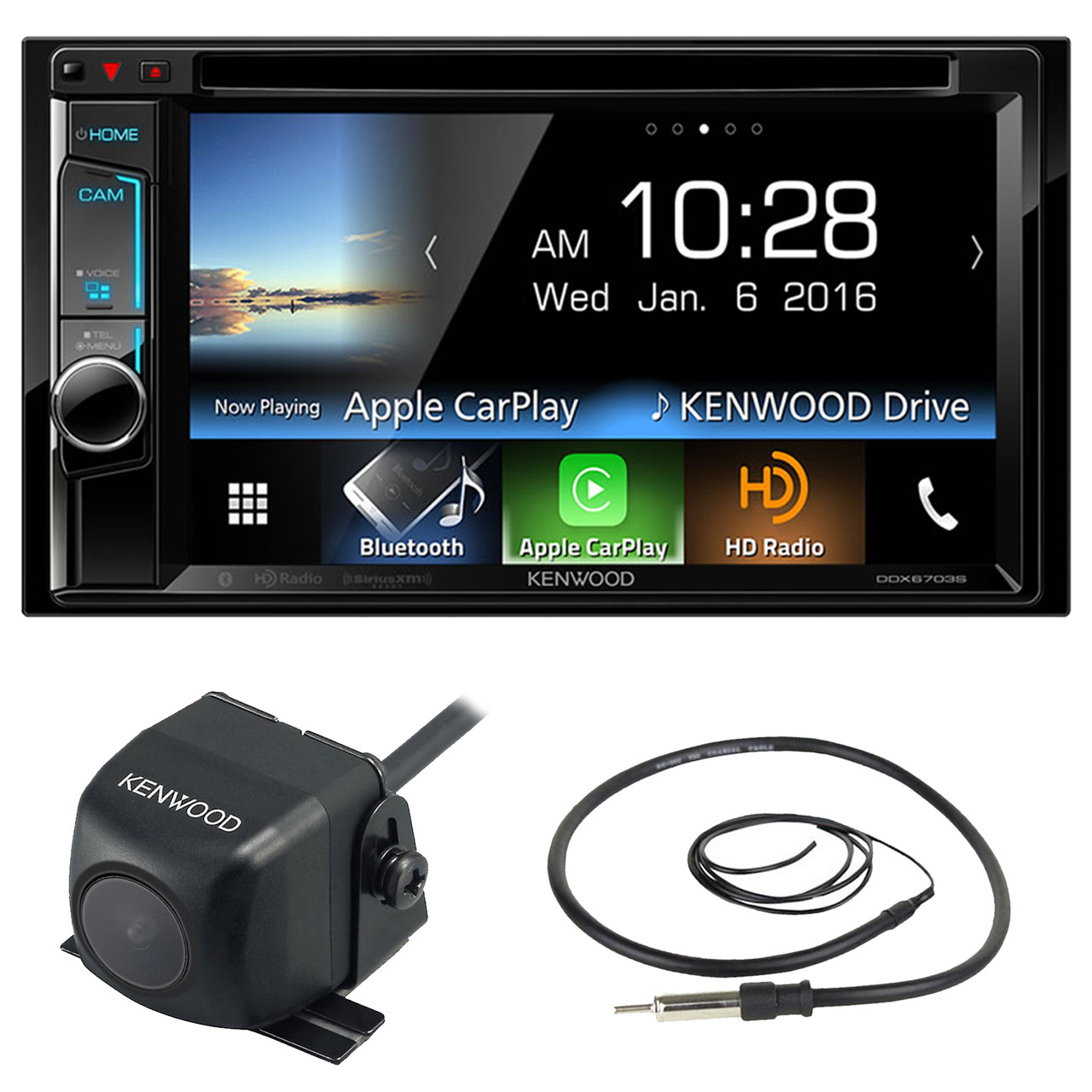 Kenwood Ddx6703s 62 Inch Touchscreen Double Din Cd Dvd Player Car Stereo Audio Receiver Bundle
