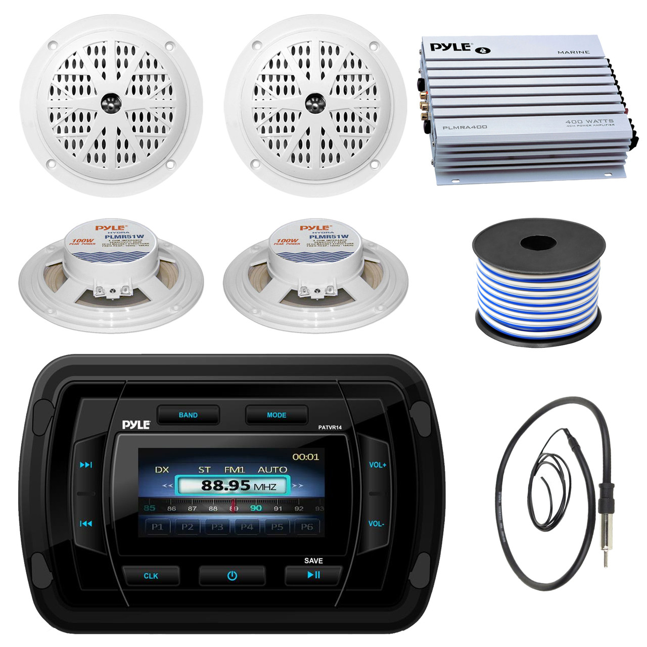 Pyle Patvr14 Mp3 Mp5 Bluetooth Marine Boat Yacht Stereo Receiver 100w Car Subwoofer Amplifier Bundle Combo With 4x White 5