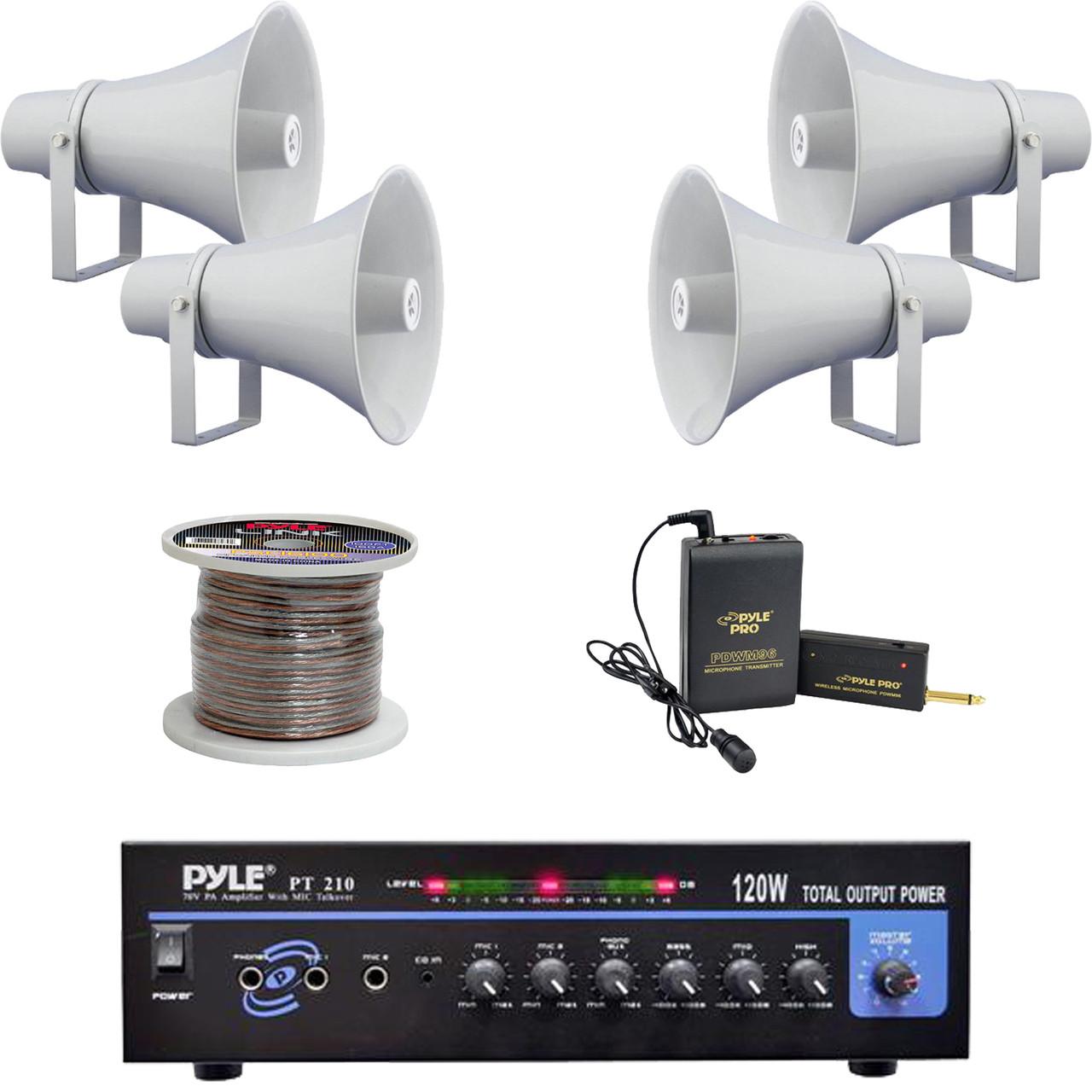 Pt210 Mono 120w Amplifier11 Pa Horn Speakersspeaker Wire Electronic Lavalier Mic