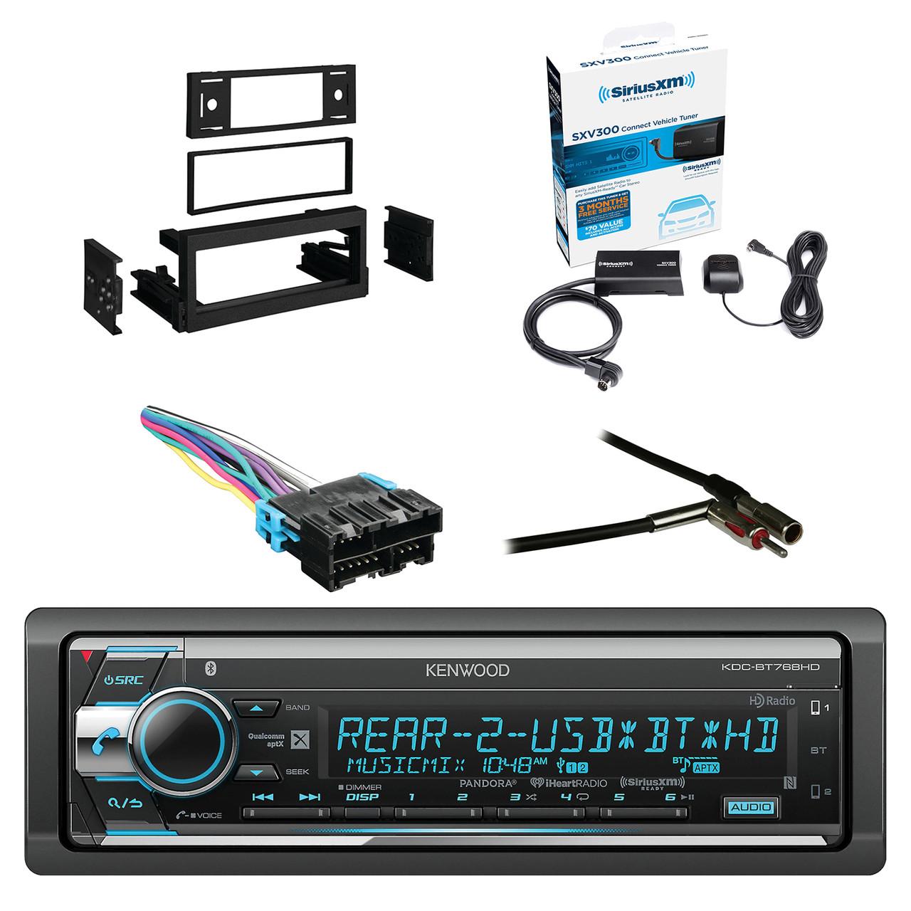 Kenwood Single Din CD/AM/FM Car Audio Receiver W/Bluetooth with SiriusXM  Satellite Radio Vehicle Tuner Kit, Metra Dash Kit For GM Truck And Van  95-05, ...