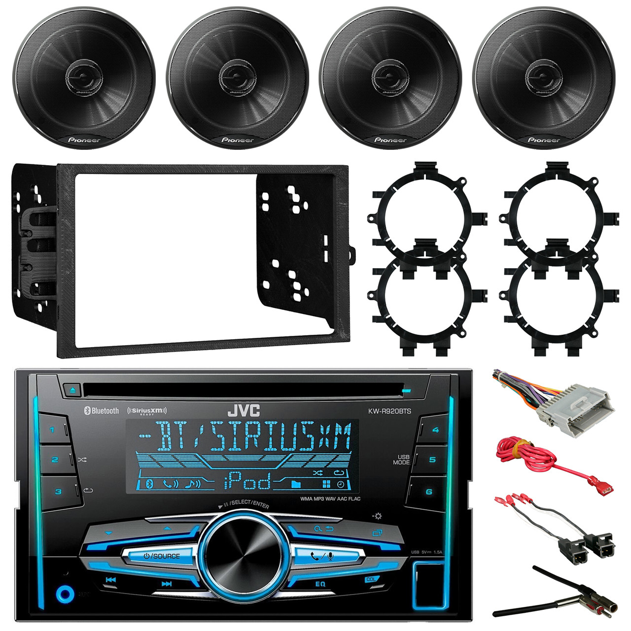 Jvc Kw R920bts Double Din Bluetooth Car Cd Player Stereo Receiver Metra Wire Harness Bundle Combo With 4x 65 Inch 250w Coaxial Speakers W Brackets Wiring