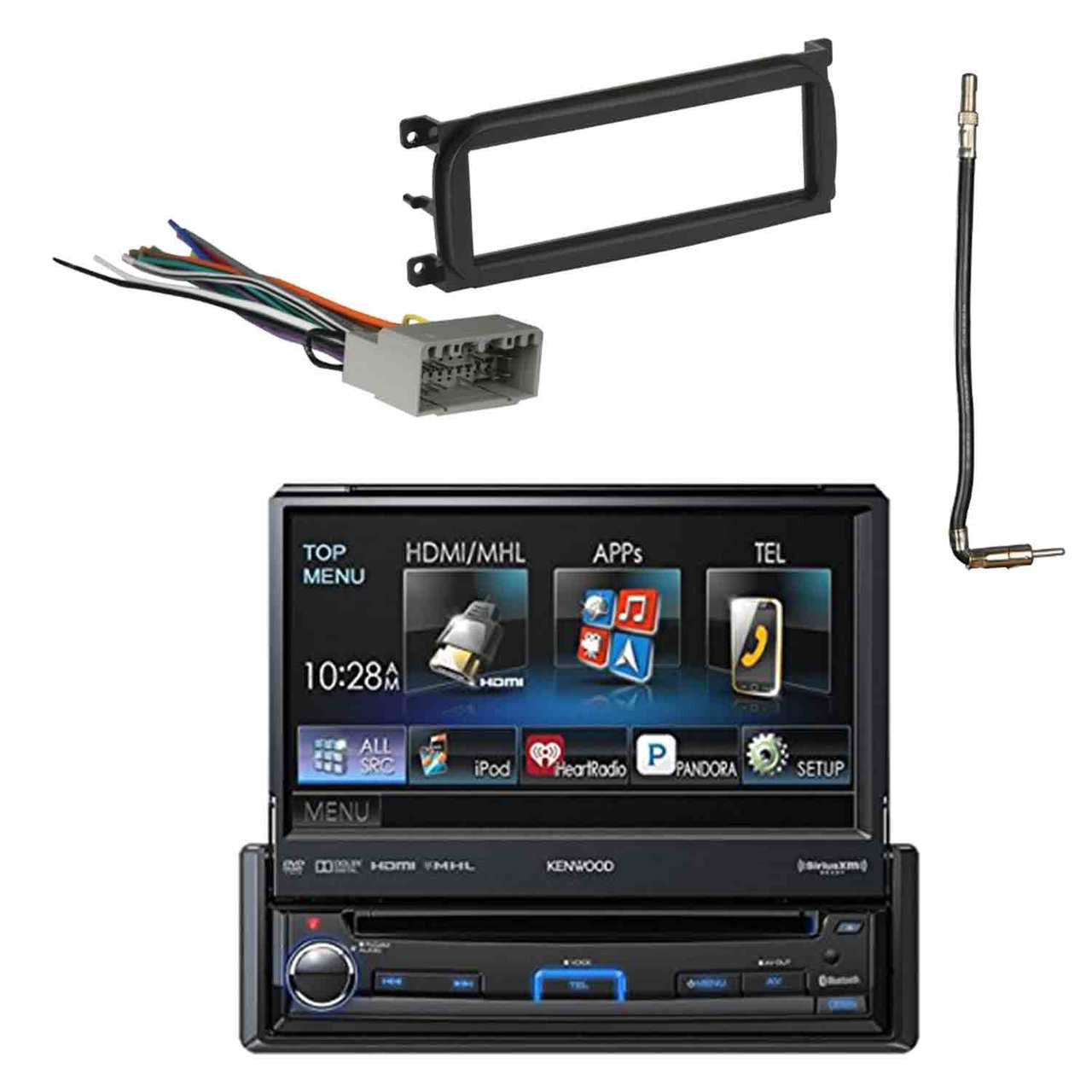 1 Din Dvd Receiver With Dash Kit Antenna Adapter Cable And Radio Wiring Harness Roadentertainmentbundle
