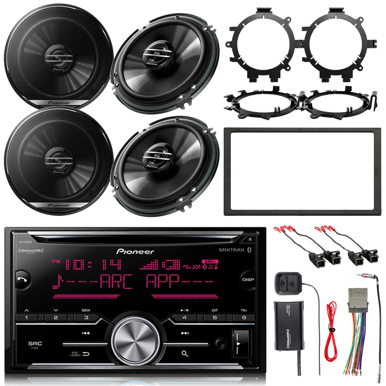 Pioneer 2din Cd Bluetooth Receiver 4x 65 Speakers Dash Kit Stereo Wiring Harness Adapters