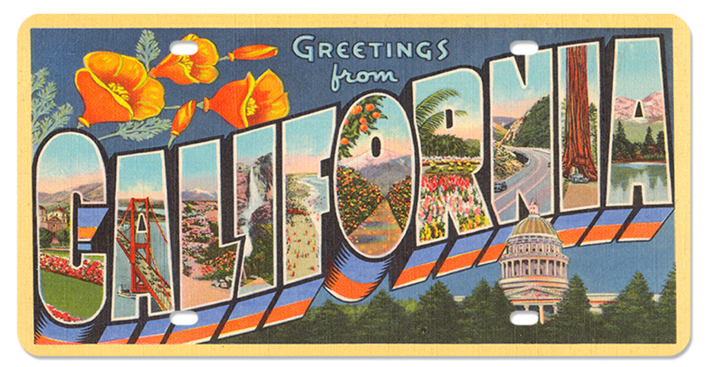Greeting from california license plate 12 x 6 inches m4hsunfo