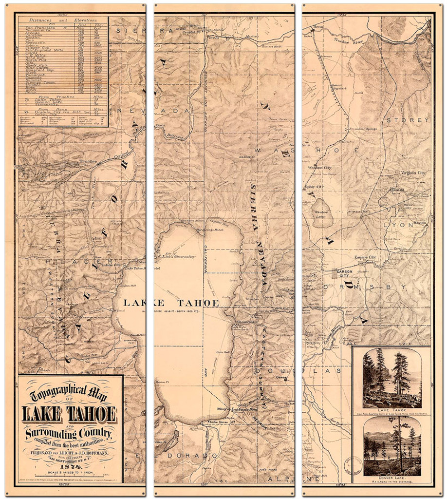Lake Tahoe Map Metal Sign 36 x 42 Inches