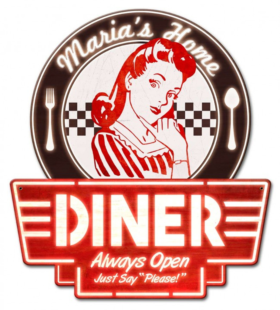 Mom's Home Diner Metal Sign - Personalized 15 x 17 Inches
