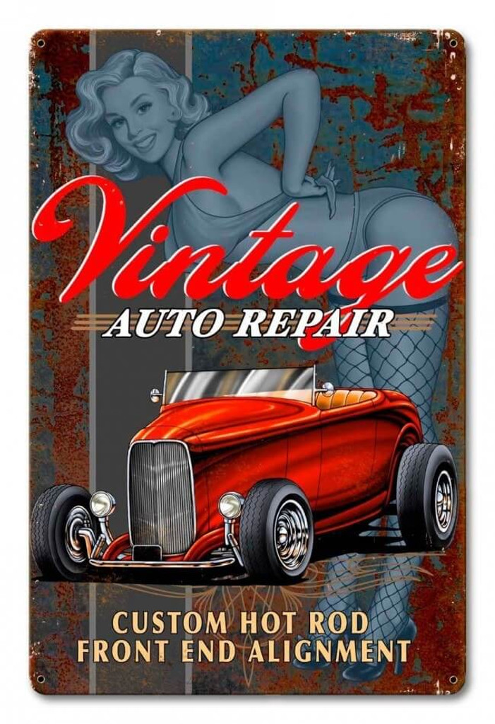 Vintage Auto Repair Pinup Metal Sign 12 x 18 Inches