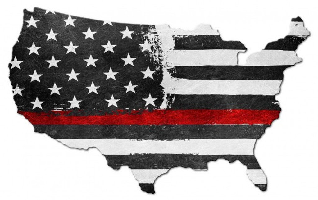 USA Map Thin Red Line Metal Sign 25 x 16 Inches