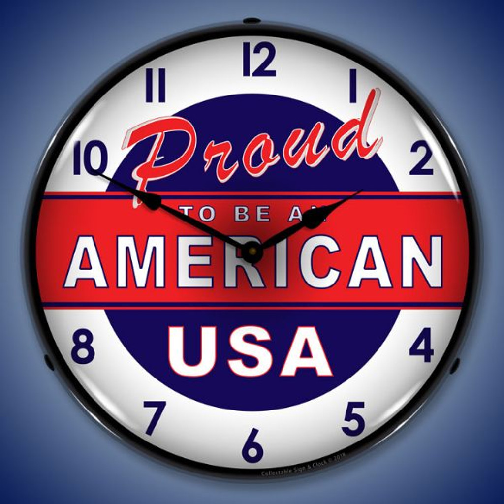 Proud to be American Lighted Wall Clock 14 x 14 Inches