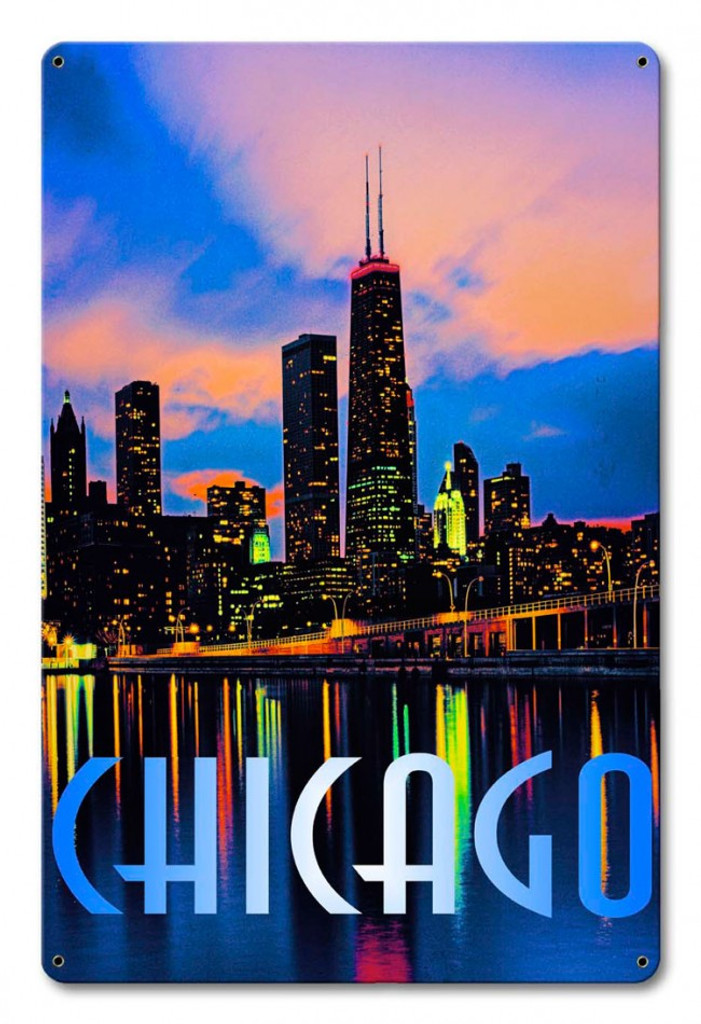 Chicago In Color Metal Sign 12 x 18 Inches