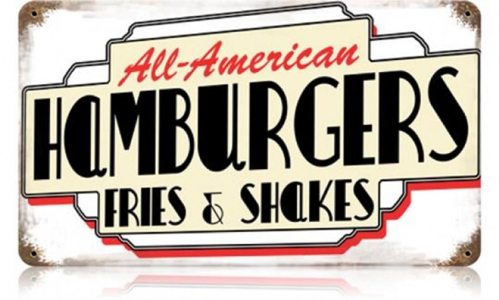 Vintage-Retro All American Hamburgers Metal-Tin Sign
