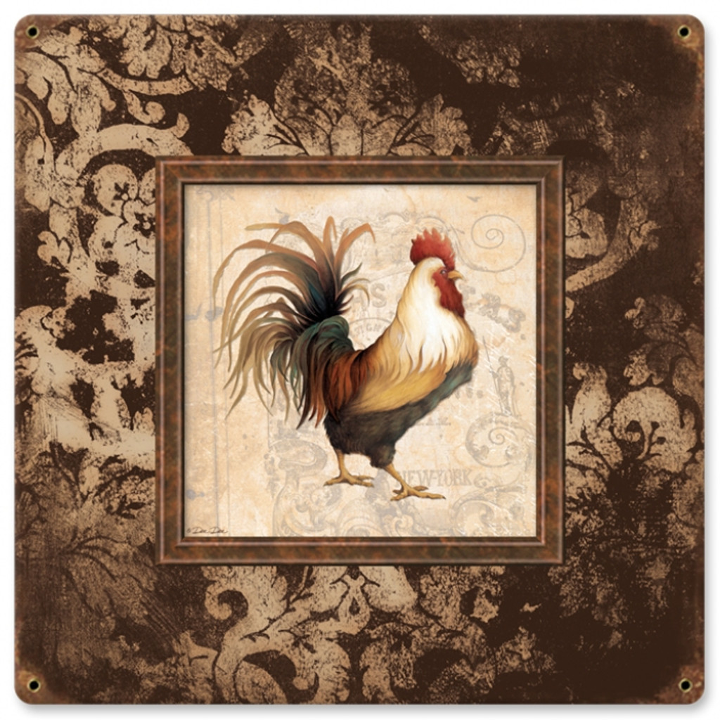 Retro Rooster Frames Tin Sign