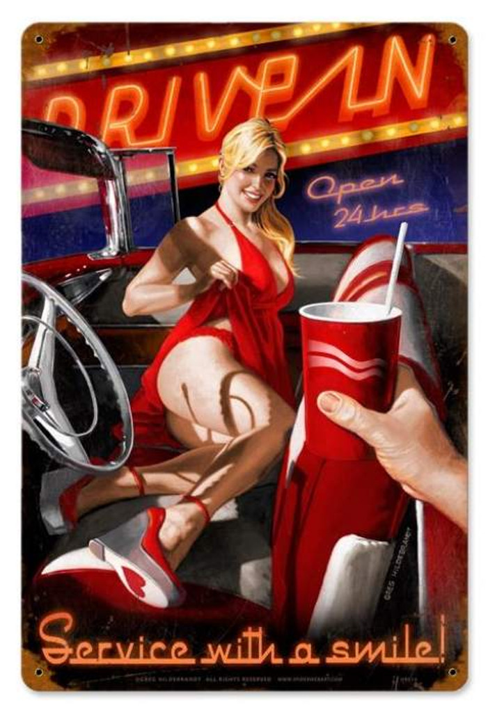 Vintage Drive In Pin Up Girl Metal Sign