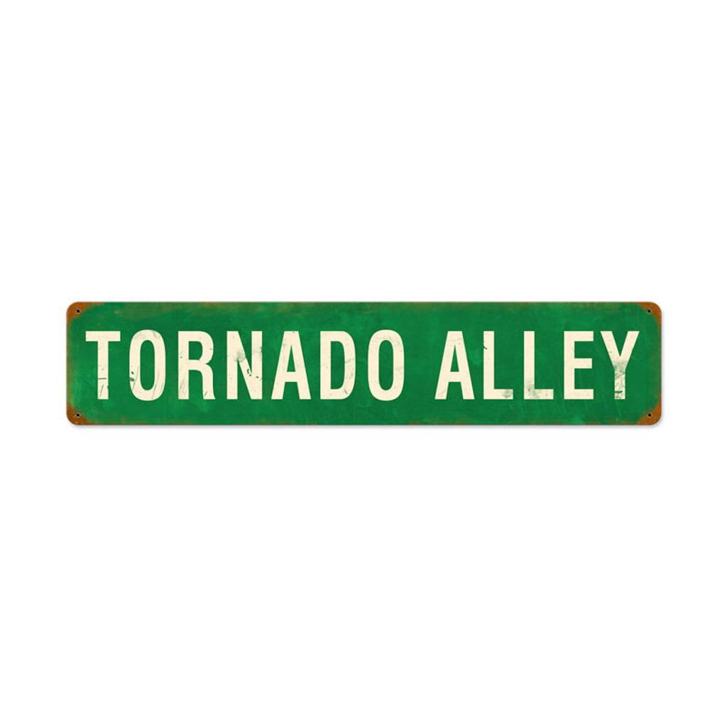 Retro Tornado Alley Tin Sign 28 x 6 Inches