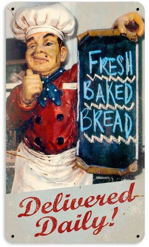 Retro Fresh Bread Metal Sign 8 X 14 Inches