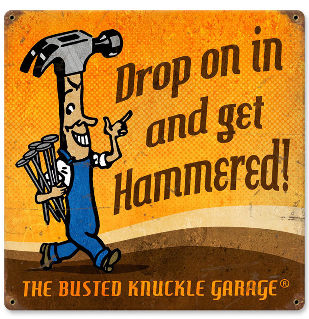 Retro Get Hammered Metal Sign 12 x 12 Inches
