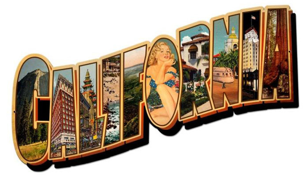 California Landmarks Custom Metal Shape 28 x 15 Inches