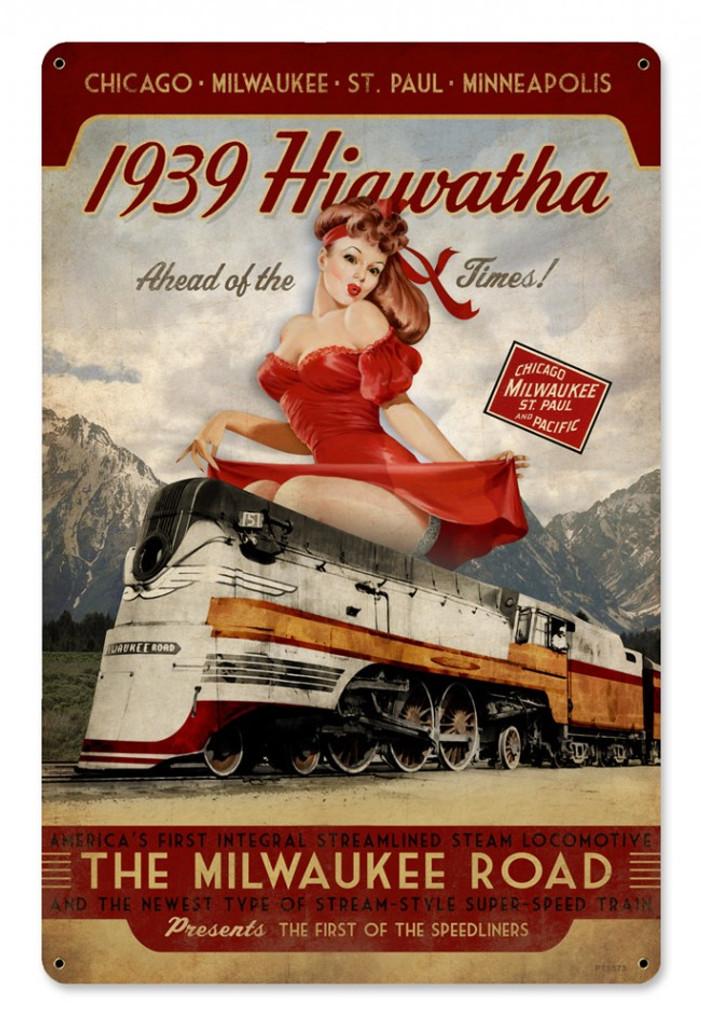Retro Hiawatha 1939 Pinup Girl Train Sign 18 X 12 Inches