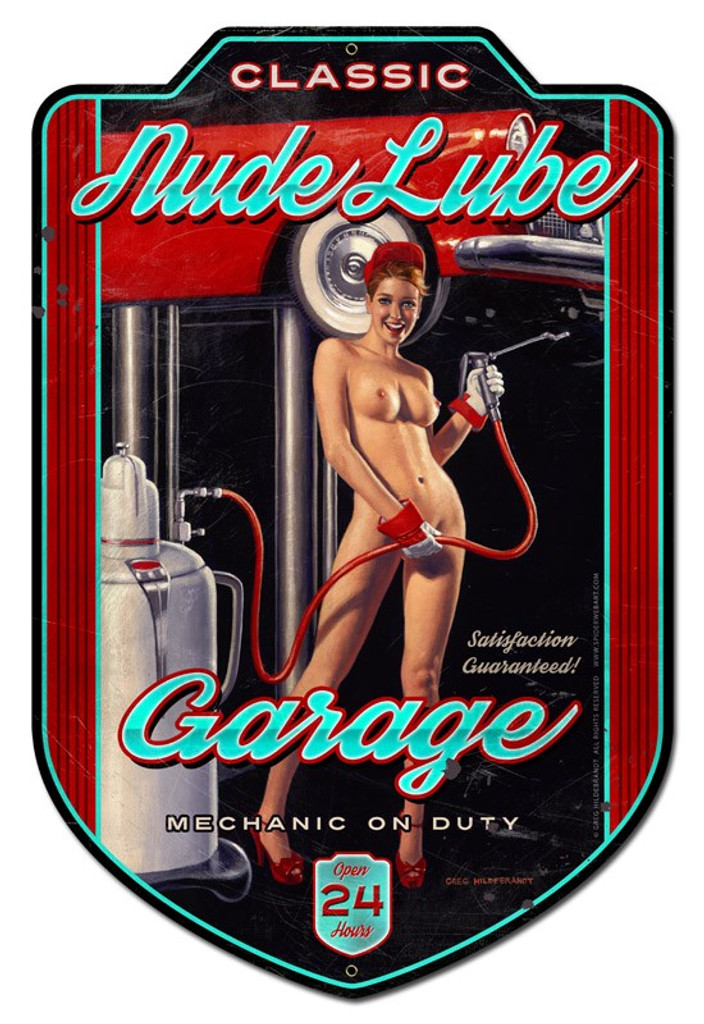 Nude Lube Garag Pinup Girl Metal Sign 18 x 28 Inches