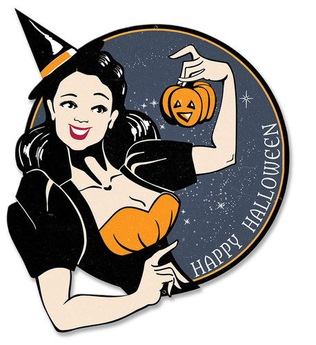 Witch Happy Halloween Metal Sign 17 x 14 Inches
