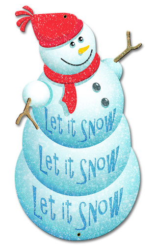 Let It Snow Snowman Metal Sign 12 x 20 Inches