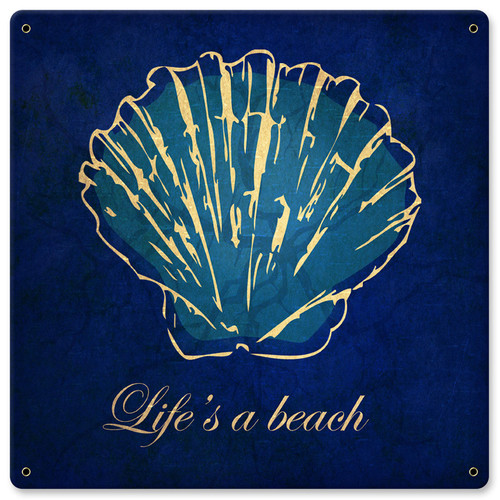 Lifes A Beach Metal Sign 12 x 12 Inches