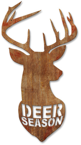 Deer Season Vintage Silhoutee Metal Sign 11 x 22 Inches
