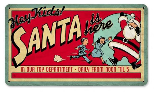 Vintage-Retro Santa Toy Dept Metal-Tin Sign