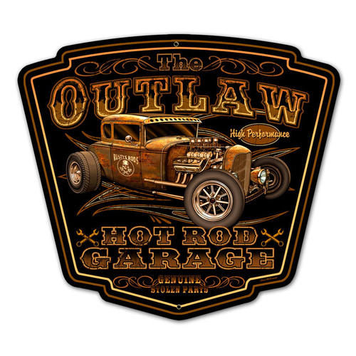 Outlaw Garage Metal Sign 16 x 16 Inches