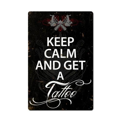 Keep Calm Tattoo Metal Sign 16 x 24 Inches