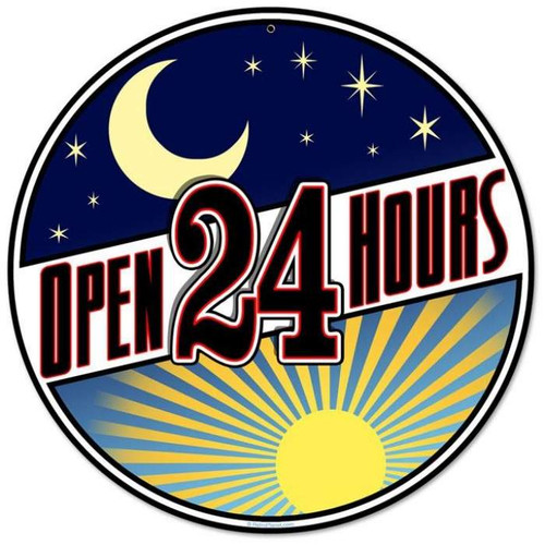 Retro Open 24 Hours Round Metal Sign 14 x 14 Inches