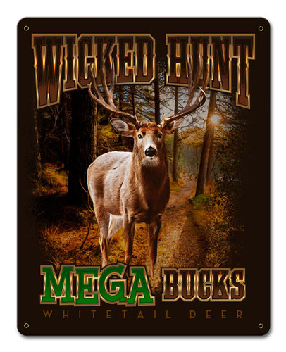 Deer Mega Bucks Metal Sign 12 x 15 Inches