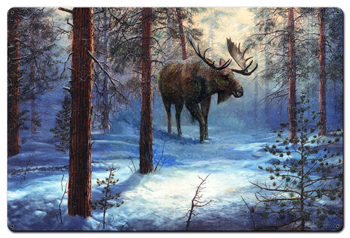 Moose In The Winter Metal Sign 36 x 24 Inches