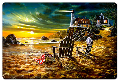 Seaside Rendezvous Metal Sign 24 x 36 Inches