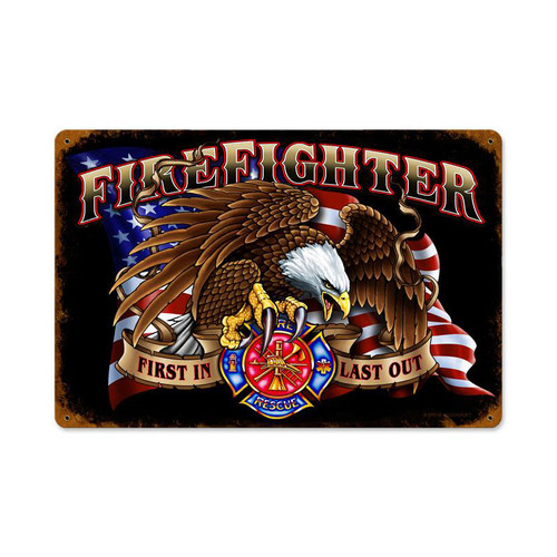 Firefighter Eagle Metal Sign 12 x 18 Inches