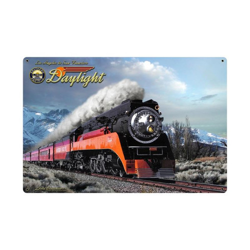 Daylight Winter Train Metal Sign 36 x 24 Inches