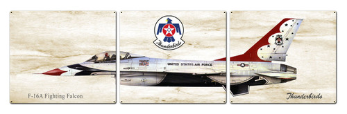 F-16 Fighting Falcon Metal Sign 48 x 14 Inches