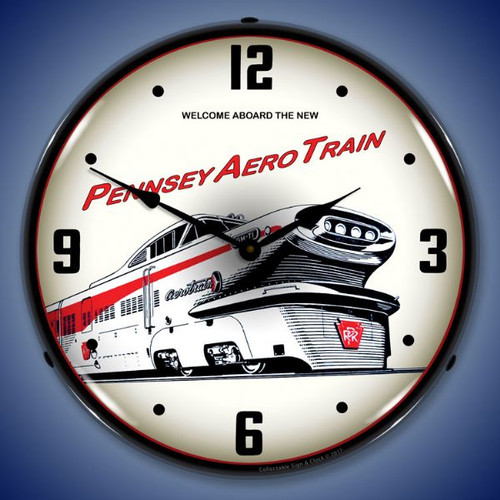 Pennsey Aero Train  Lighted Wall Clock 14 x 14 Inches